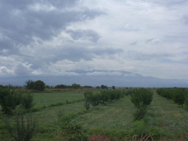 Im Hintergrund kann man schemenhaft den Ararat erkennen